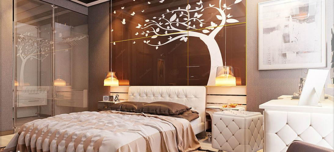 Bedroom design set with modern stencil details